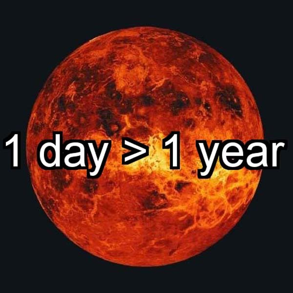 8.) 1 day on Venus is longer than 1 year.
