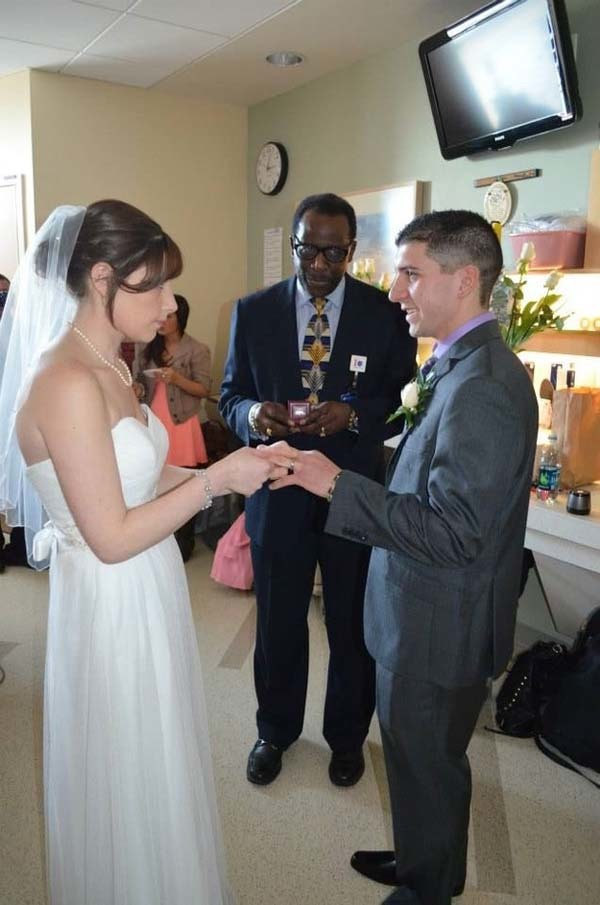 Aly was so grateful for the helpful hospital staff. Without them, she didn't think the wedding would have been possible.