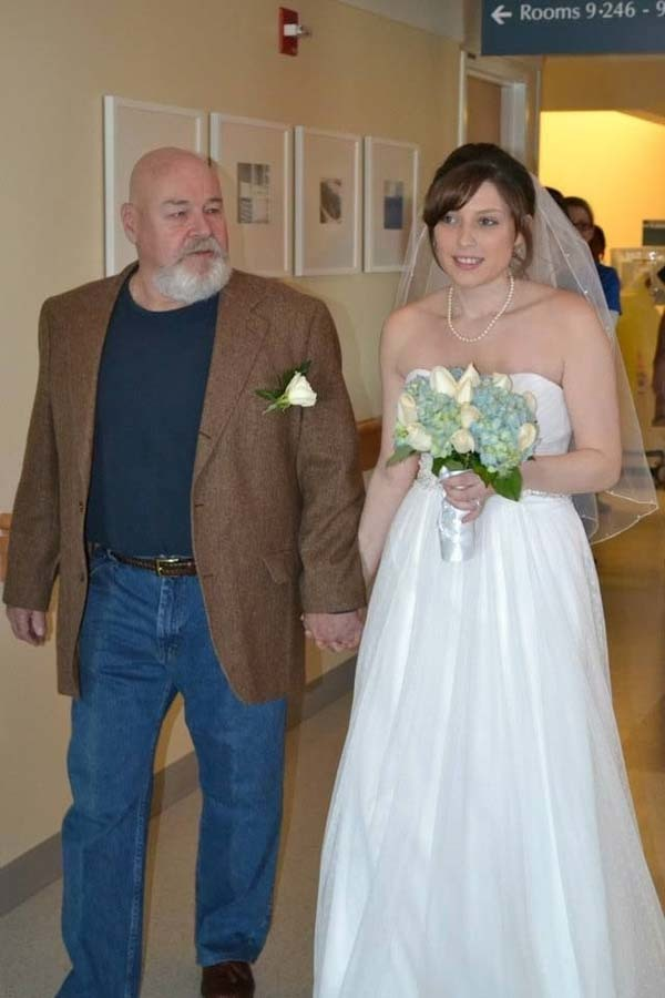 Aly's stepfather walked her down the aisle.
