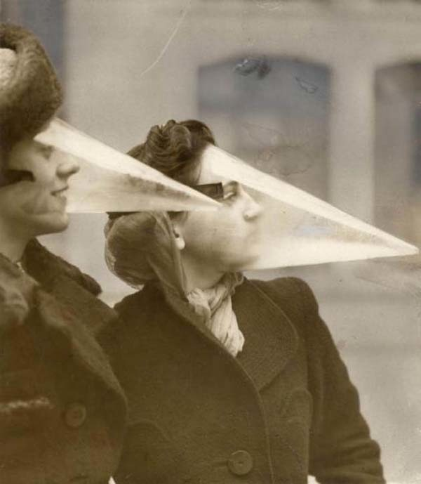 Cones designed to protect the wearer from storms and blizzards (1939).