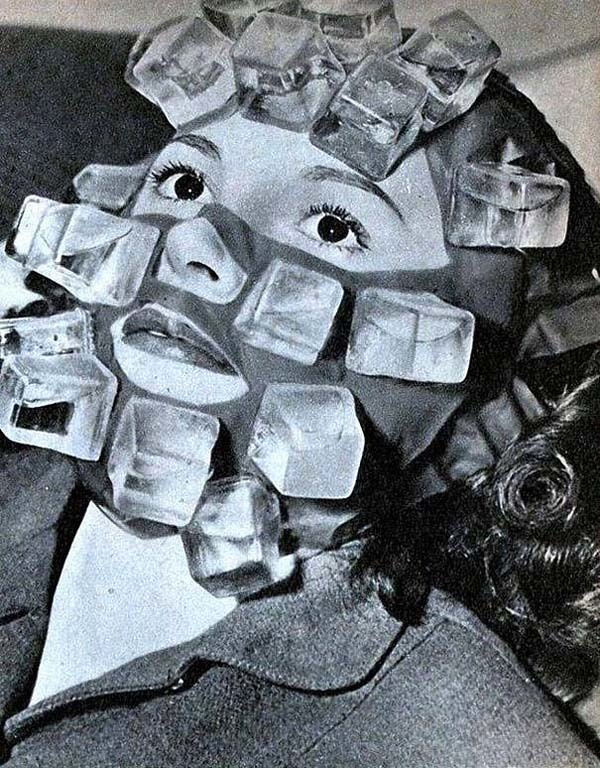 An ice cube mask made to cure hangovers (1947).
