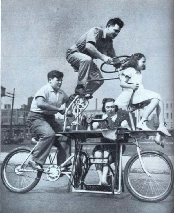 A bicycle that fit the whole family... plus a sewing machine (1939).