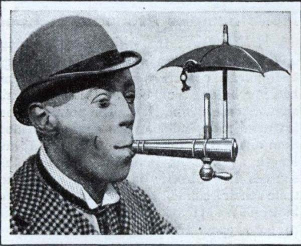 A contraption that would let you smoke in the rain (1931).