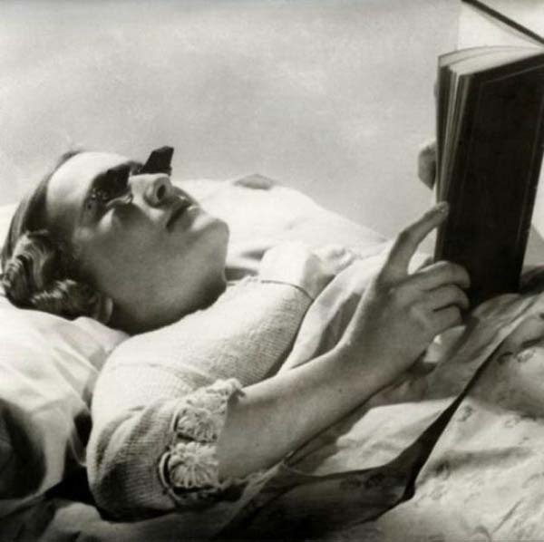 Glasses that let you read while lying down (1936).