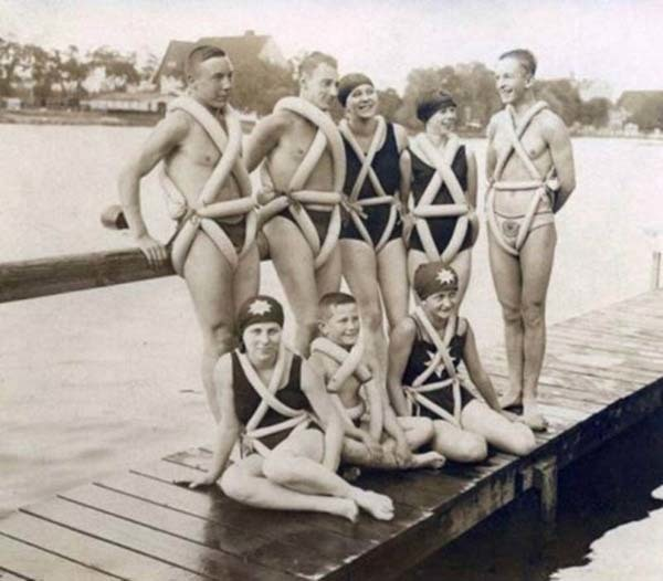Life jackets that were made from bicycle tubing (1925).
