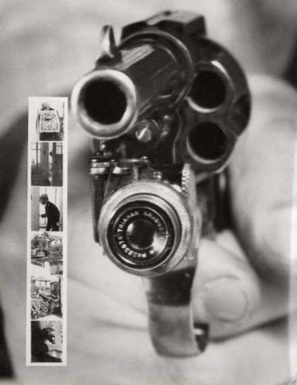 A revolver that takes a picture right before the shot is fired (1938).