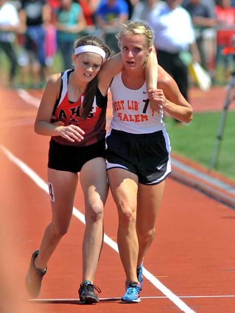 9. When this girl turned around during a race to help a girl who had fallen down. That girl was her opponent.