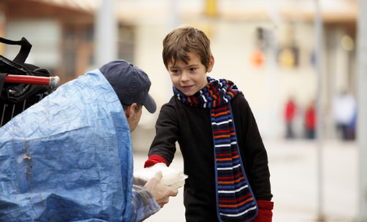 12. When this little boy brought a sandwich to a hungry homeless man on the street.