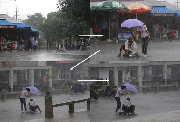 18. When this girl stopped what she was doing to give shelter to a disabled man in the rain.