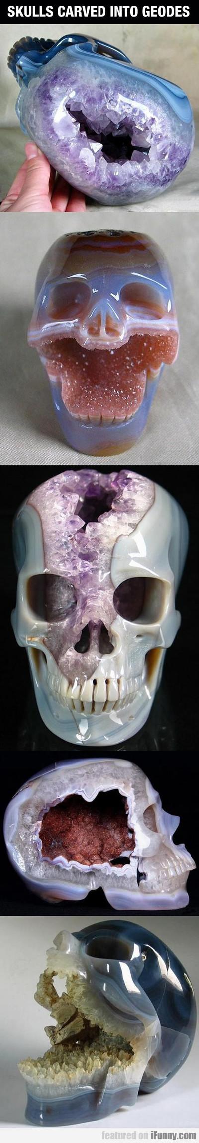 Skulls Carved Into Geodes...